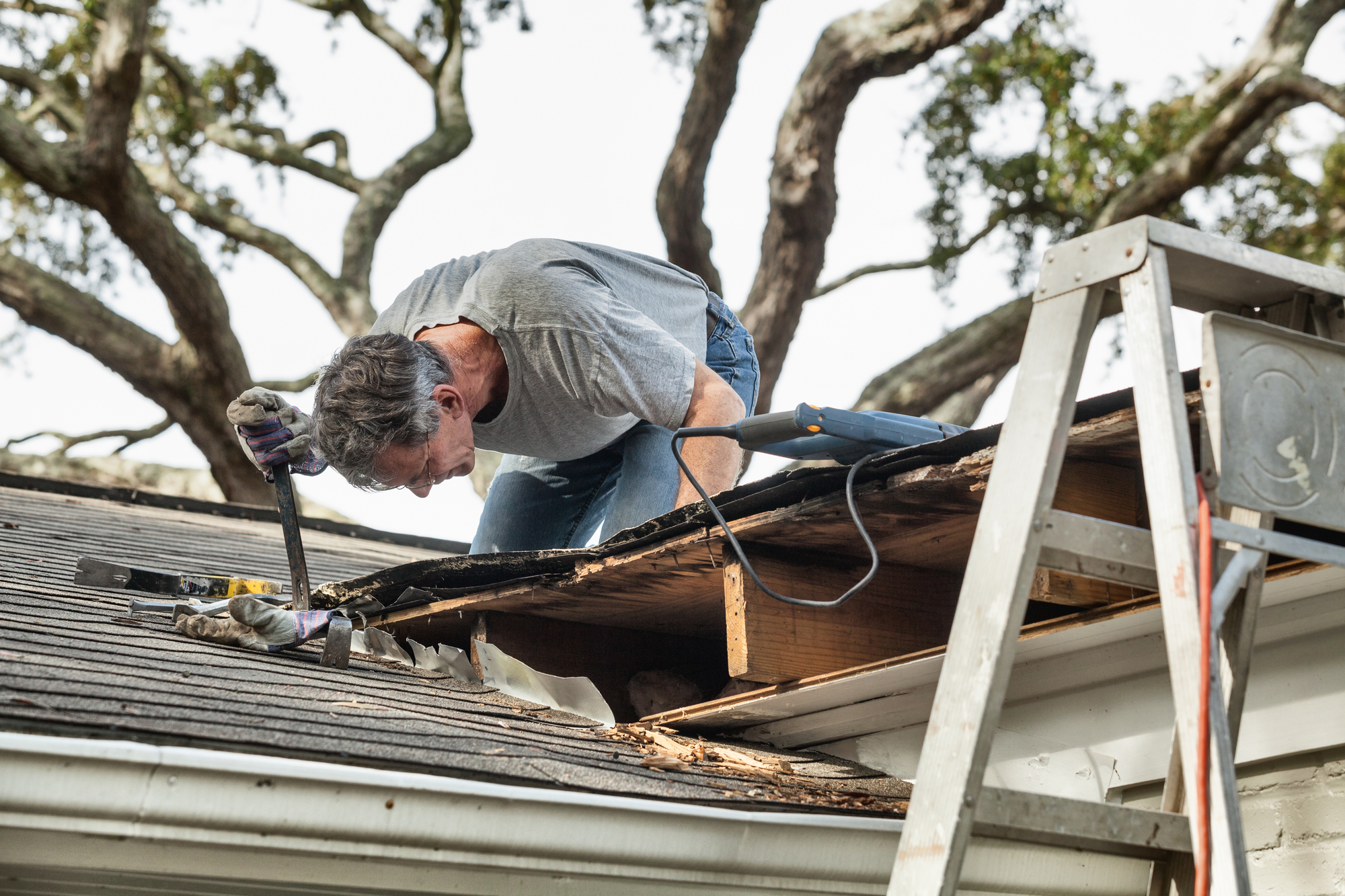 Man using crowbar to remove rotten wood from leaky roof. After removing fascia boards he has discovered that the leak has extended into the beams and decking.